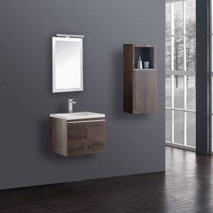 Badkamermeubelset wastafelmeubel incl. spiegel 60x45x48cm Donker eiken - Milano ME-0600 STONEART