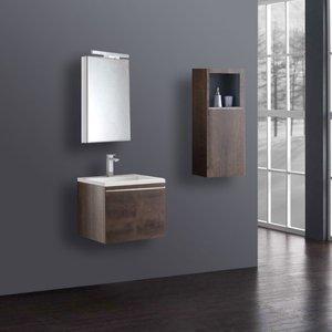 Badkamermeubelset wastafelmeubel incl. spiegel 60x45x48cm Donker eiken - Milano ME-0600-1 STONEART