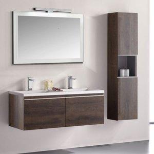 Badkamermeubelset wastafelmeubel incl. spiegel 120x45x48cm Donker eiken - Milano ME-1200 STONEART