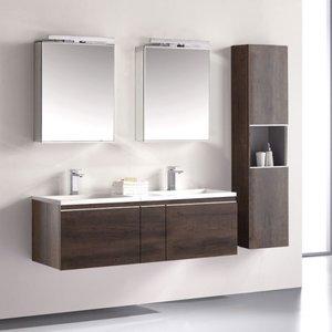 Badkamermeubelset wastafelmeubel incl. spiegel 140x45x48cm Donker eiken - Milano ME-1400-1 STONEART