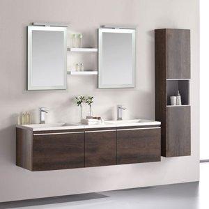 Badkamermeubelset wastafelmeubel incl. spiegel 160x45x48cm Donker eiken - Milano ME-1600 STONEART