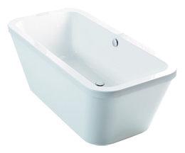 Vrijstaand bad ligbad badkuip rechthoekig dubbelzijdig Carronite wit 175x80cm - Halcyon Eastbrook